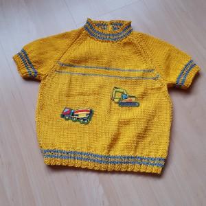 Kurzarm-Pullover – gelb (Garn) mit Motiv  Grösse 98 Fr. 37.-