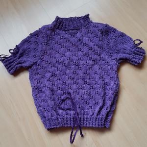 Kurzarm-Pullover – violett (Garn) Grösse 104 Fr. 37.-